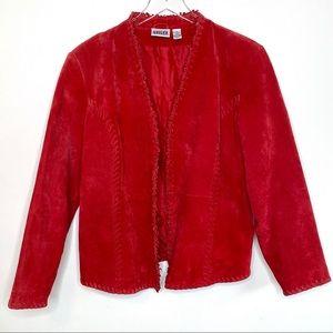 Chico's Suede Leather Red Boho Western Blazer L